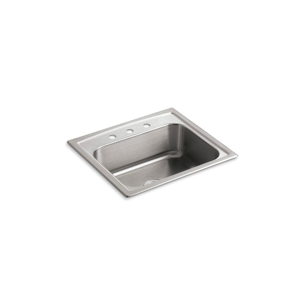 KOHLER Toccata Drop-In Stainless Steel 25 in. 3-Hole Single Bowl Kitchen Sink