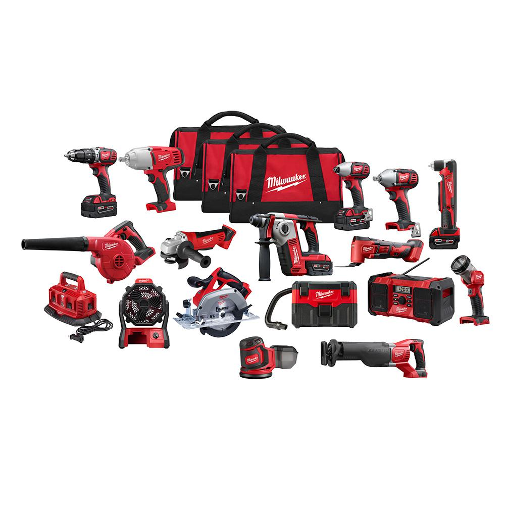 Milwaukee M18 18-Volt Lithium-Ion Cordless Combo Tool Kit (16 tool) w/ Four 3.0 Ah Batteries, 1-Charger, 3 tool Bag