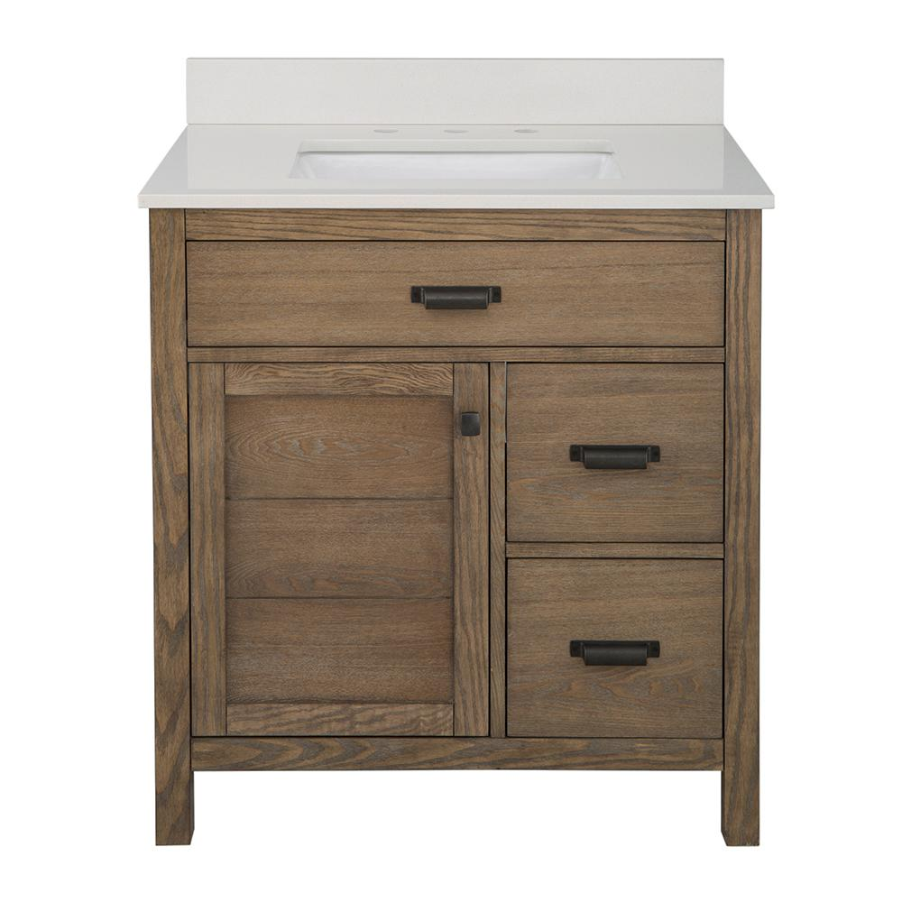 Stanhope 31 in. W x 22 in. D Vanity in Reclaimed Oak with Engineered Stone Vanity Top in Crystal White with White Sink