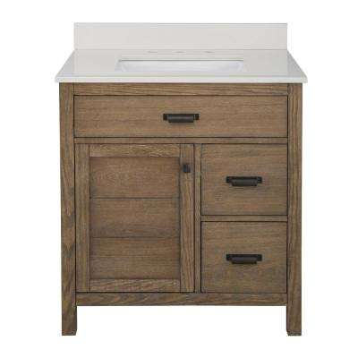 Stanhope 31 in. W x 22 in. D Vanity in Reclaimed Oak and Engineered Stone Vanity Top in Creamed Coffee with White Sink