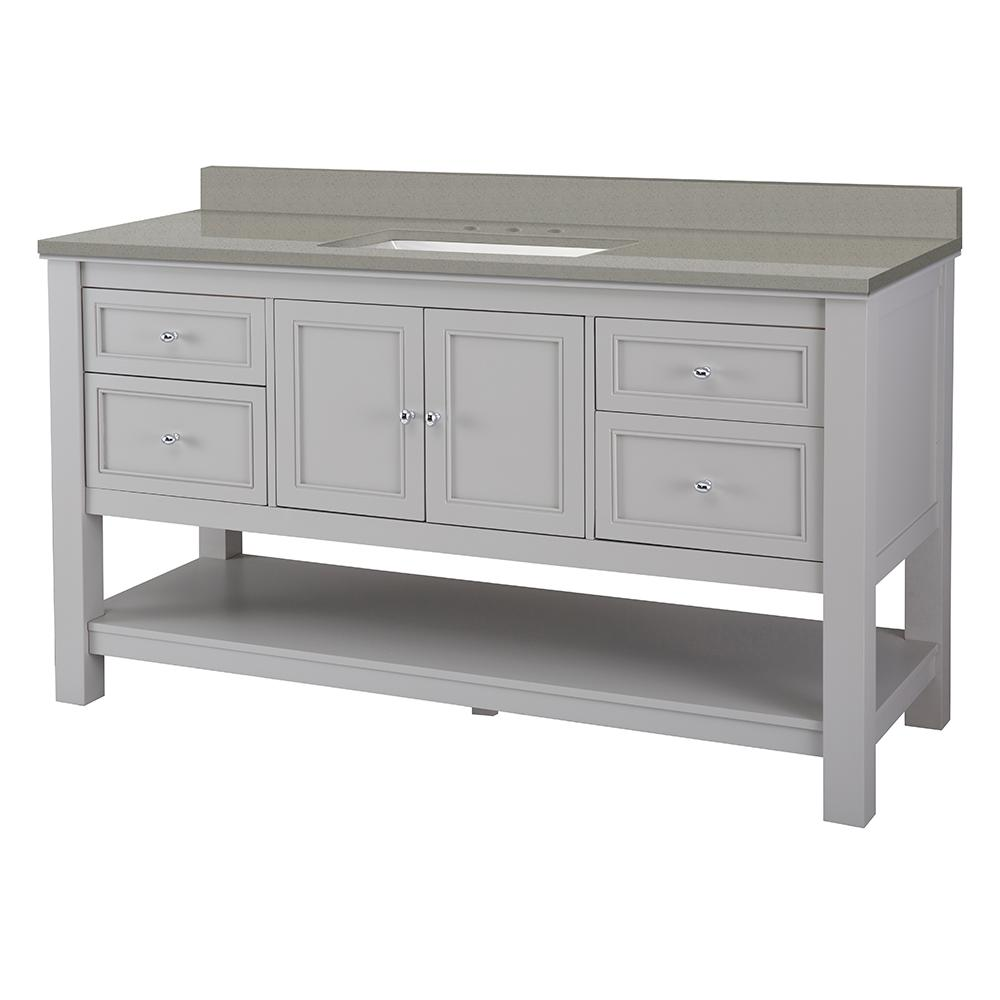 Foremost Gazette 61 in. W x 22 in. D Bath Vanity in Grey with Engineered Quartz Vanity Top in Sterling Grey with White Basin