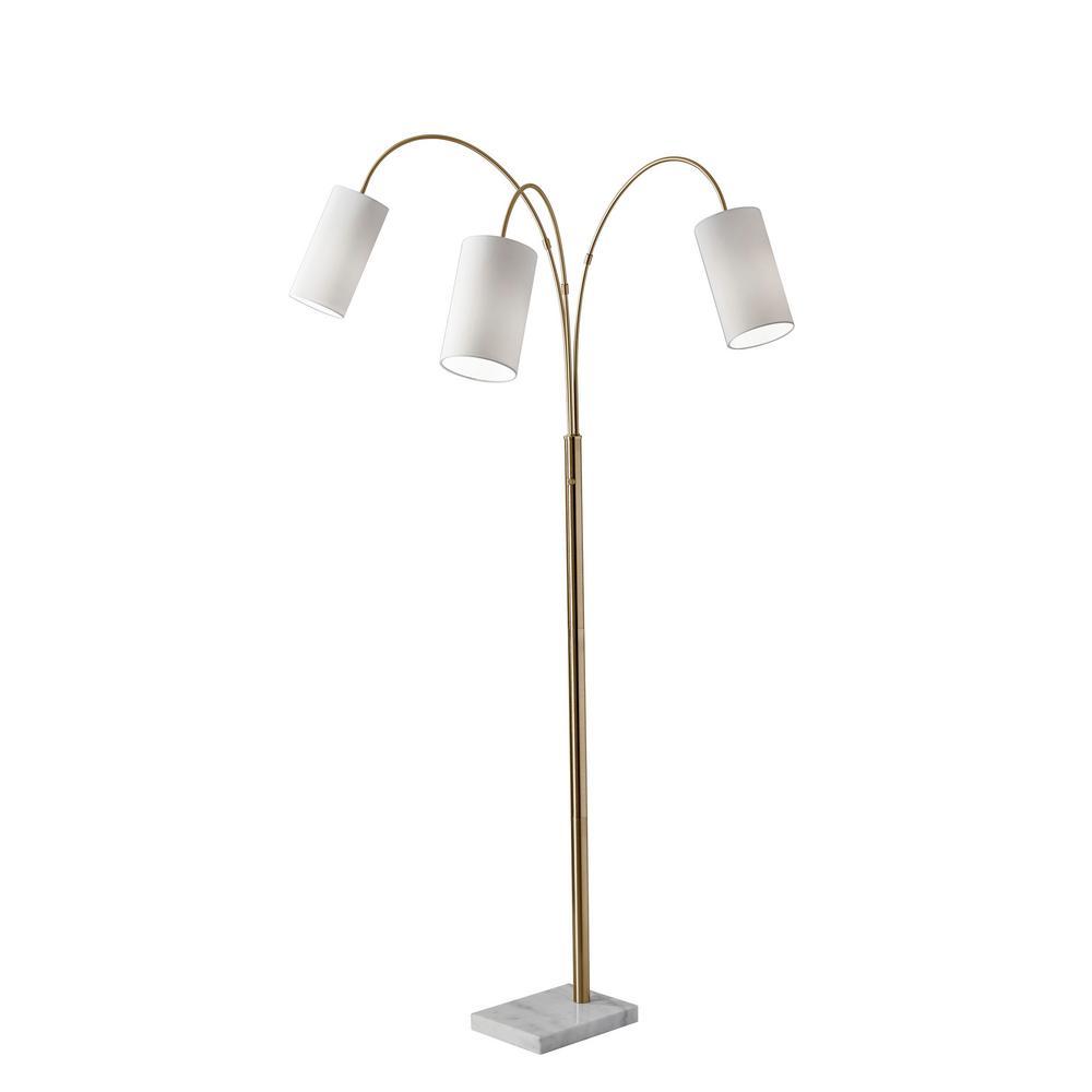 Ore International 76 In Modern Black Arc Floor Lamp With Black Marble Base 6937bk The Home Depot