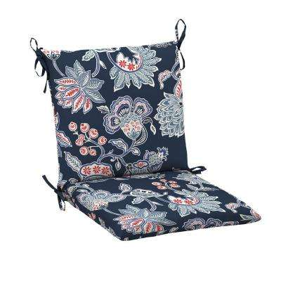 Lovely 20 X 17 Outdoor Dining Chair Cushion In Standard Blue Floral