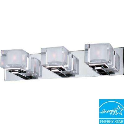 Cubic 3-Light Polished Chrome Bath Vanity Light