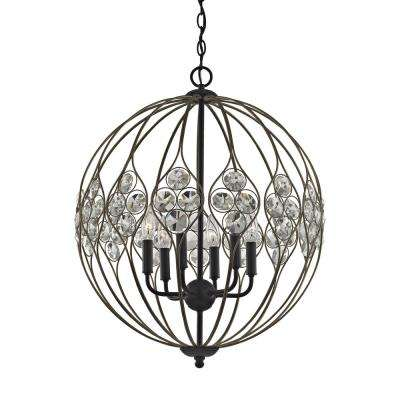 Crystal Web 6-Light Matte Black with Bronze Gold Highlights And Clear Crystal Chandelier