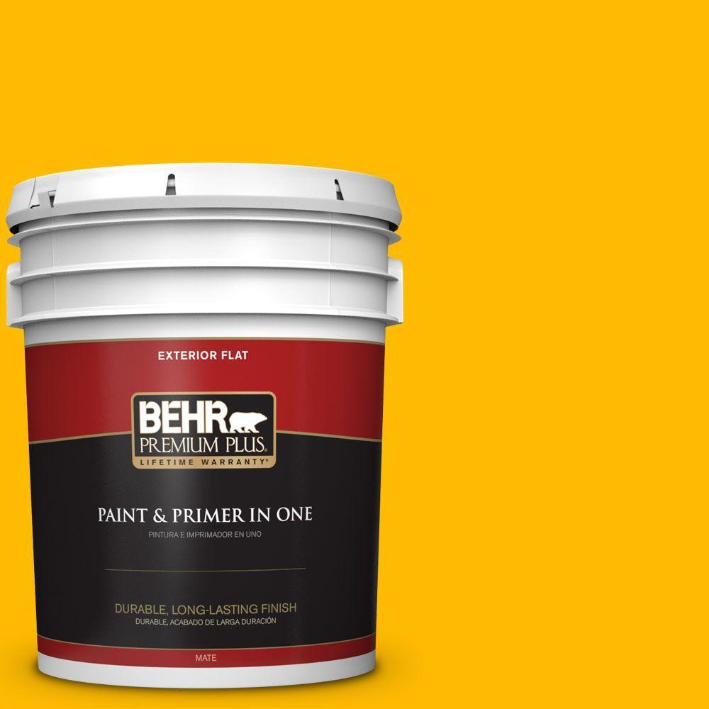 BEHR Premium Plus 5-gal. #340B-7 Empire Yellow Flat Exterior Paint