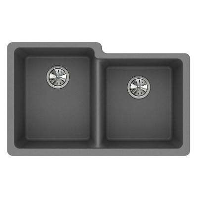 Quartz Classic Undermount Composite 33 in. Square Offset Double Bowl Kitchen Sink in Greystone