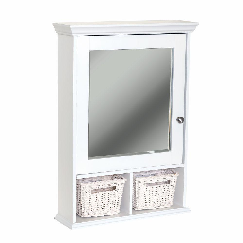 Wood Surface Mount Medicine Cabinet With Baskets In White Beveled Mirror