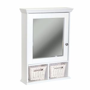 Zenith 21 inch x 29 inch Wood Surface Mount Medicine Cabinet with Baskets in White with... by Zenith