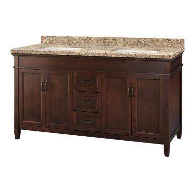 Ashburn 61 in. W x 22 in. D Vanity in Mahogany with Granite Vanity Top in Giallo Ornamental with White Sink