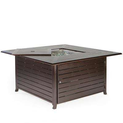 45 in. x 23.5 in. 42,000 BTU Square Aluminum Propane Patio Heater Fire Pit Table with Weather Cover, ANSI Certified