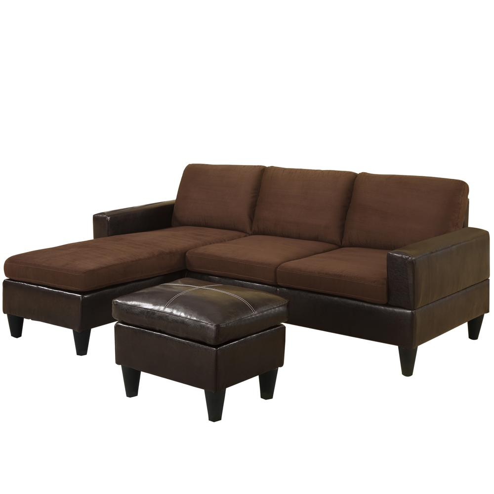 Venetian worldwide riviera reversible chocolate sectional for Chocolate sectional sofa with ottoman