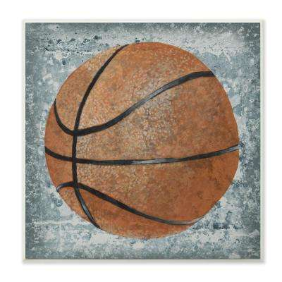 "12 in. x 12 in."" Grunge Sports Equipment Basketball"" by Studio W Printed Wood Wall Art"