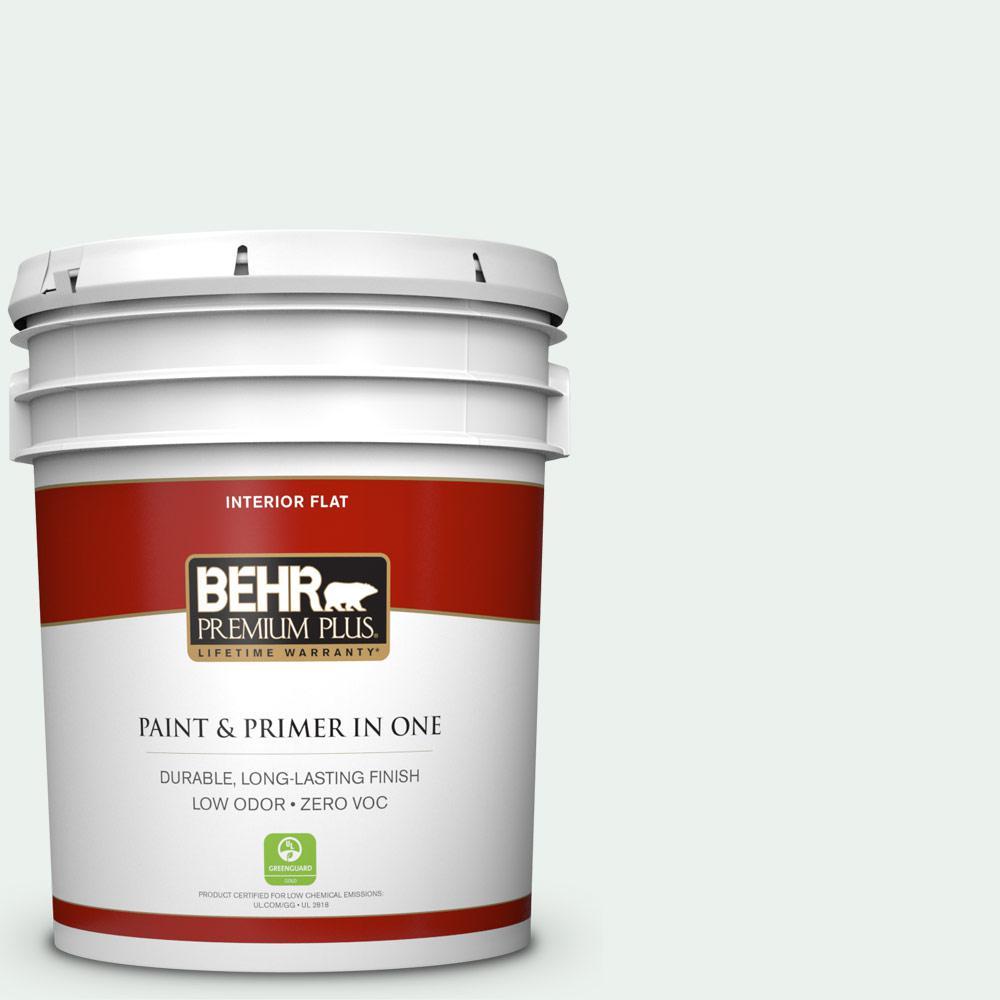 BEHR Premium Plus 5 gal. #W-D-500 Cascade White Flat Zero VOC Interior Paint and Primer in One