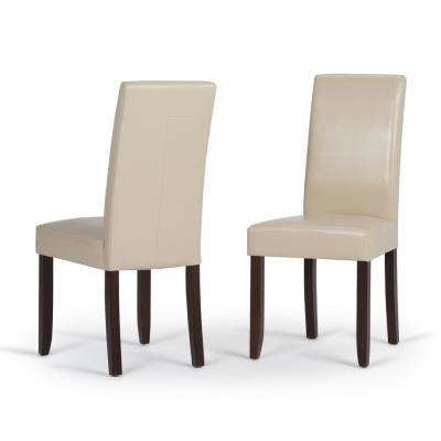 Acadian Contemporary Parson Dining Chair (Set of 2) in Satin Cream Faux Leather