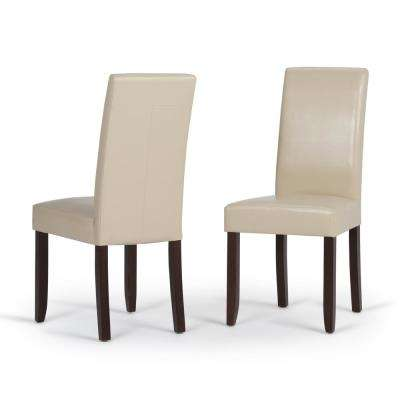 Acadian Satin Cream Faux Leather Parsons Dining Chair (Set of 2)