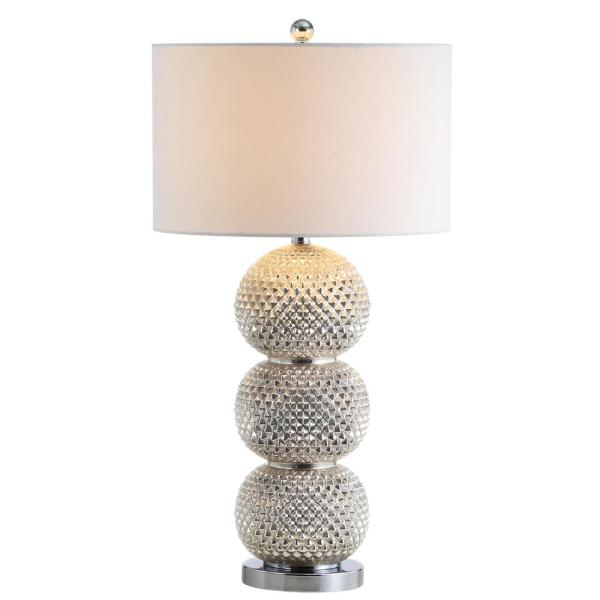 Safavieh Darcia 31 In Chrome Beaded Table Lamp With White Shade Tbl4109a The Home Depot