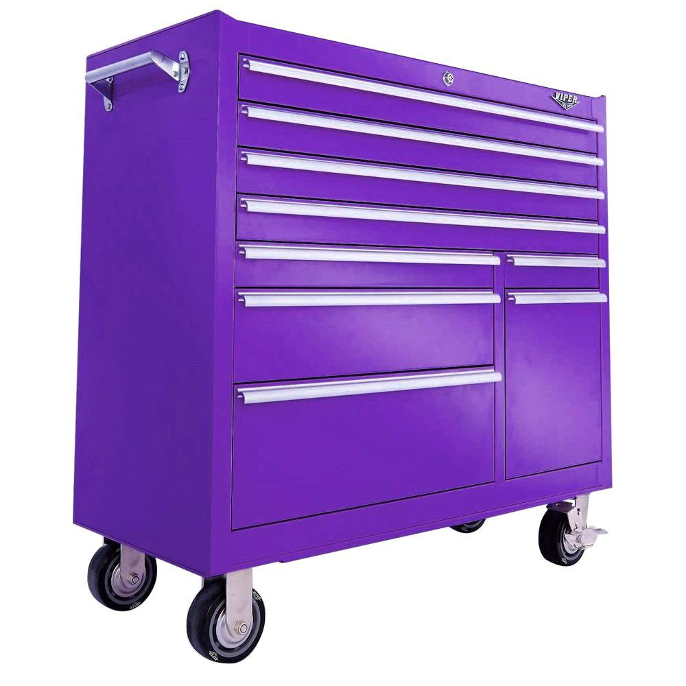 The Original Pink Box 9-Drawer 41 in. Tool Storage Cabinet in Purple