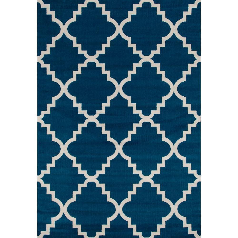Contemporary Modern Trellis Blue 5 ft. x 7 ft. Area Rug