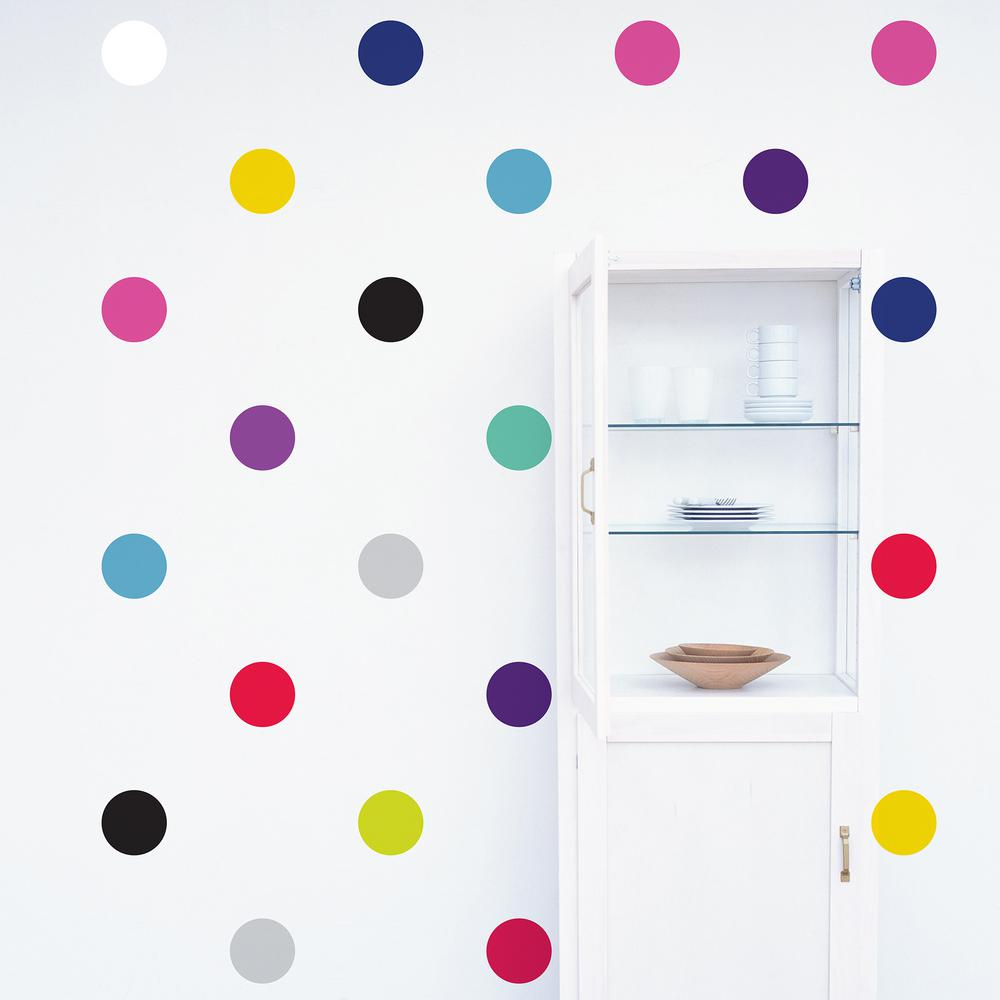 Multi Color Polka Dots Wall Decal (2 Sheets)