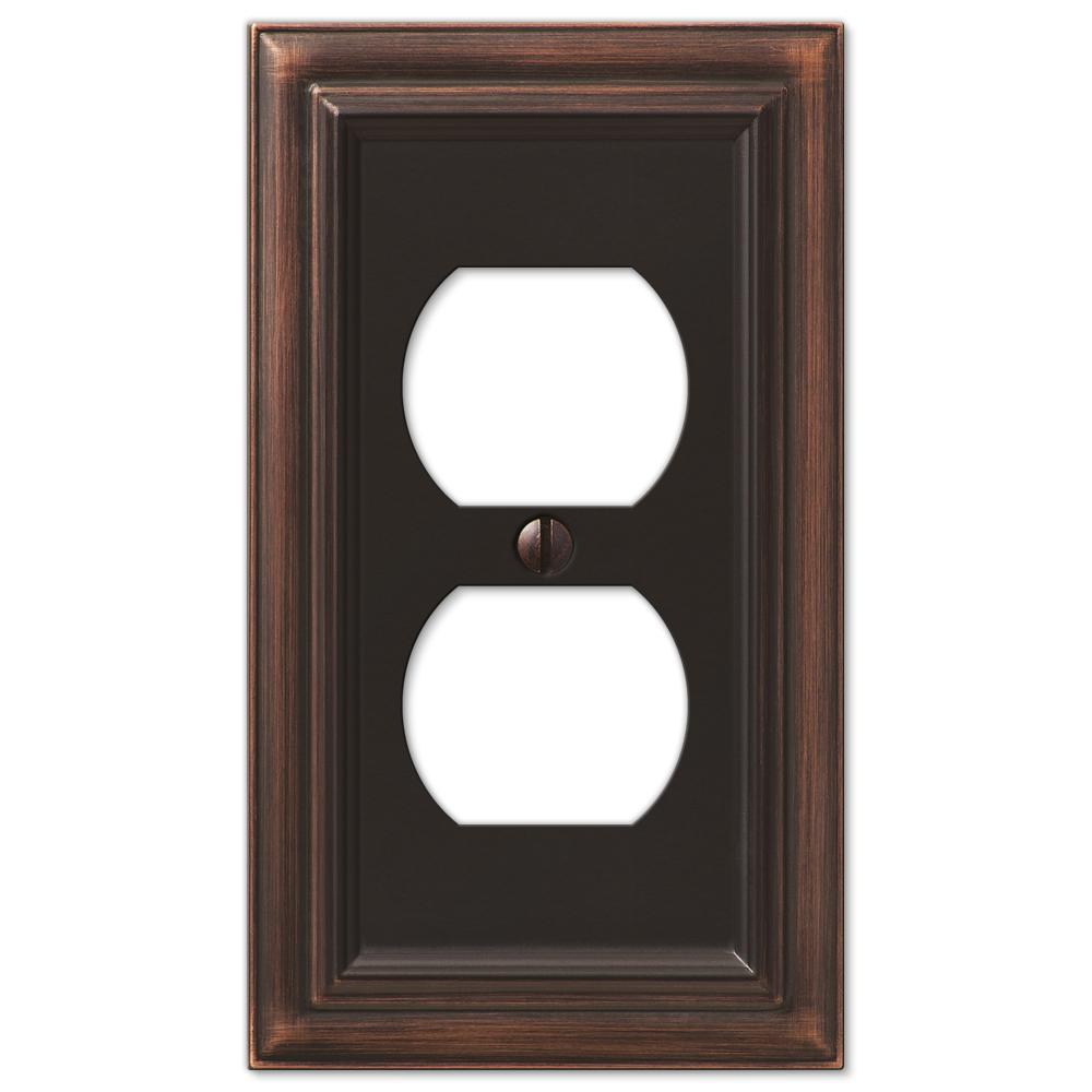 Amerelle Continental 1 Duplex Wall Plate Aged Bronze