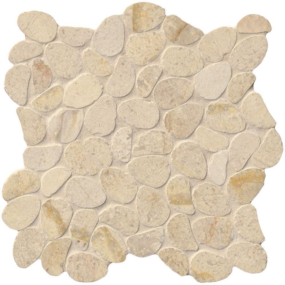 MS International Coastal Sand Pebble 12 in. x 12 in. x 10 mm Honed Limestone Mesh-Mounted Mosaic Tile (10 sq. ft. / case), Beige