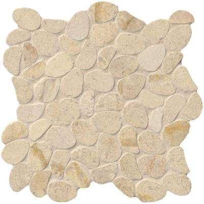 Coastal Sand Pebble 12 in. x 12 in. x 10mm Honed Limestone Mesh-Mounted Mosaic Tile (10 sq. ft. / case)