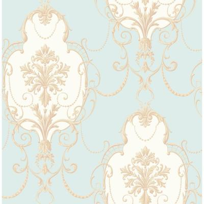 56.4 sq. ft. Lucinda Blue Cameo Wallpaper