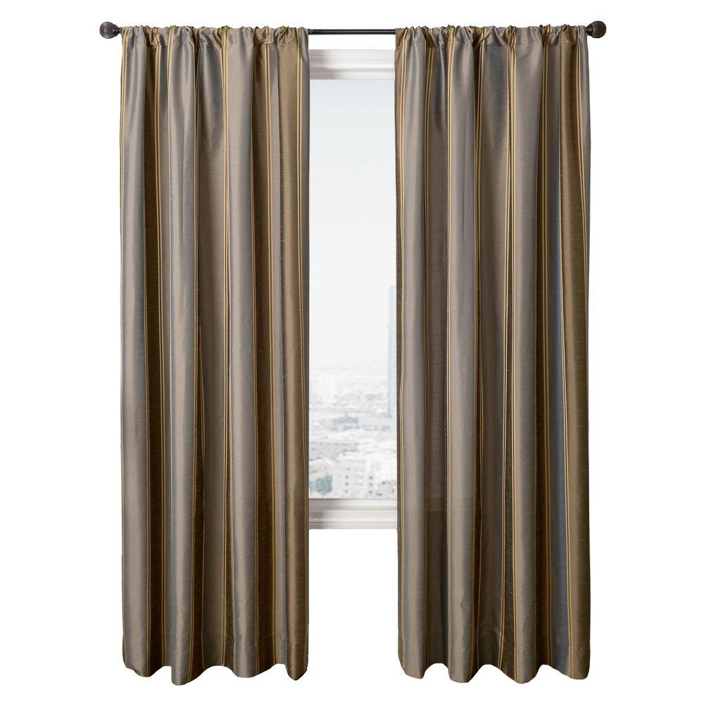 Home Decorators Collection Sheer Stripe Lagoon Diplomat Rod Pocket Curtain - 55 in.W x 84 in. L