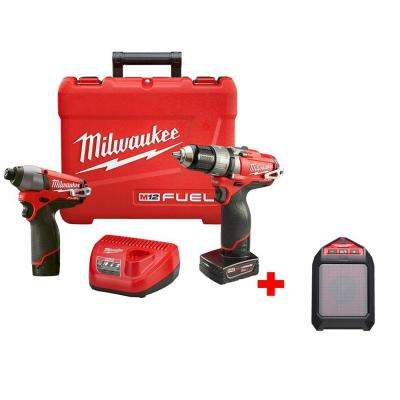 M12 FUEL 12-Volt Cordless Lithium-Ion Brushless 1/2 in. Hammer Drill/Impact Combo Kit with Free M12 Wireless Speaker
