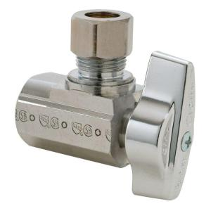 Brasscraft 3/8 inch FIP Inlet x 3/8 inch O.D. Comp Outlet 1/4-Turn Angle Ball Valve by BrassCraft