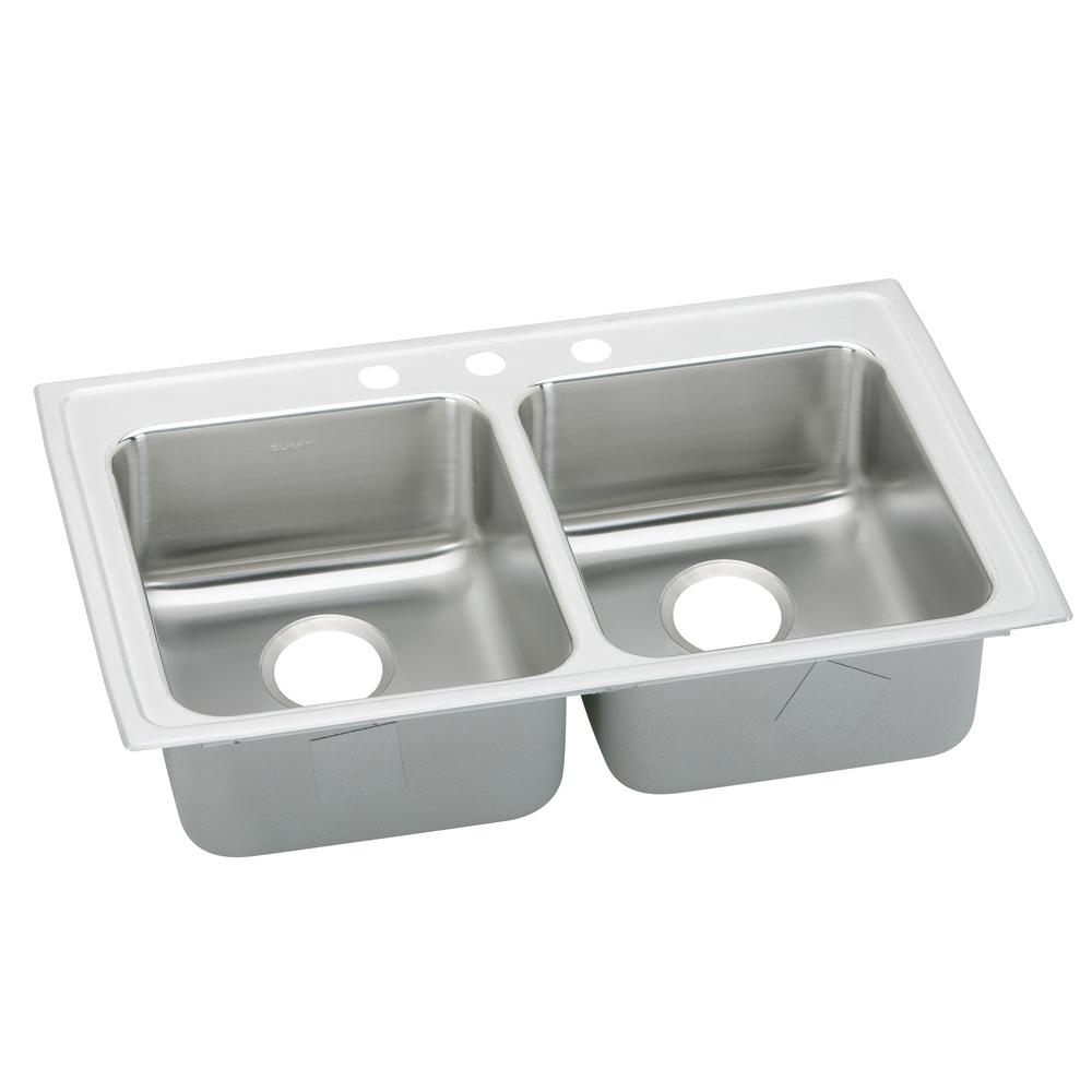Elkay Lustertone Drop In Stainless Steel 29 In. 3 Hole Double Bowl Kitchen