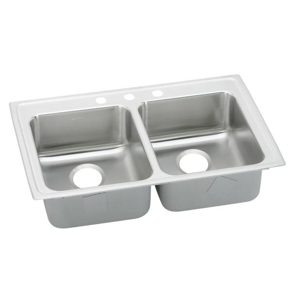 Lustertone Drop-In Stainless Steel 33 in. 3-Hole Double Bowl Kitchen Sink with 10 in. Bowls
