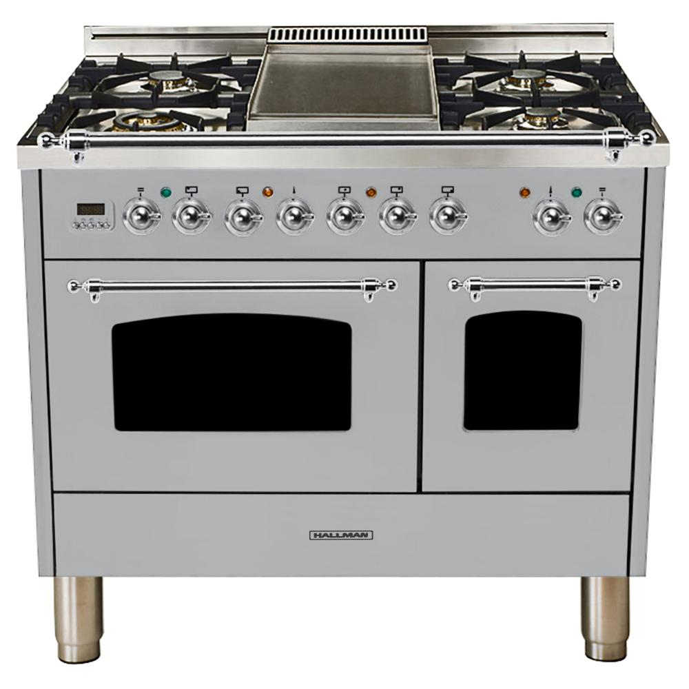 Hallman 40 in. 4.0 cu. ft. Double Oven Dual Fuel Italian Range True Convection,5 Burners, Chrome Trim in Stainless Steel