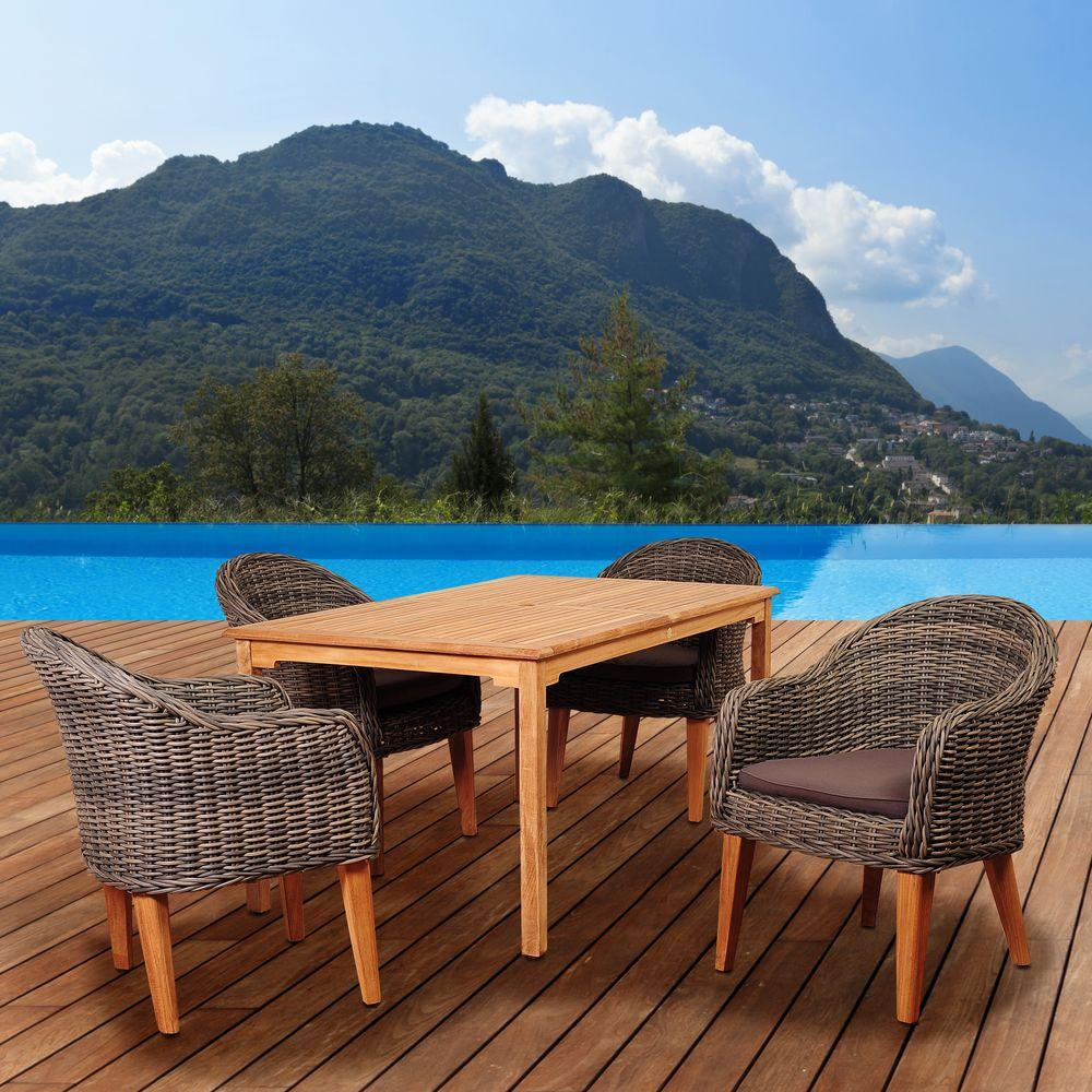 Fender 5-Piece Teak/Wicker Rectangular Patio Dining Set with Brown Cushions