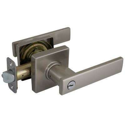 Westwood Satin Nickel Keyed Entry Lever with square rose