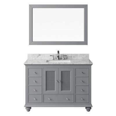 47.32 in. W x 21.65 in. D x 33.86 in. H Bath Vanity in Taupe Grey w/ Marble Vanity Top in White w/ Basin and Mirror