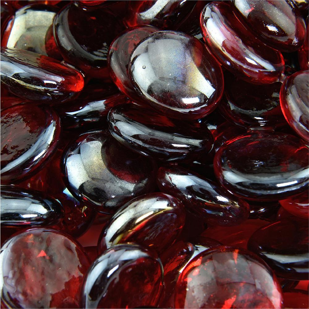 10 lbs. of Ruby 1/2 in. Semi Reflective Fire Glass Beads
