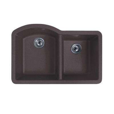 Undermount Granite 32 in. 0-Hole 55/45 Double Bowl Kitchen Sink in Nero