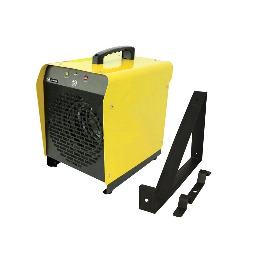 KING 4000-Watt 240-Volt Electric Portable/Fixed Mount Shop Heater, Yellow The PSH is a high power portable heater designed to provide a back-up heating source at an affordable price. Perfectly suited for the workshop, garage or construction site. The convenient 6 ft. cord allows greater mobility to areas needing heating, while the handle serves as a reel for the cord when not in use. Easily set the desired temperature with the built-in thermostat. Sure, stop high-limit temperature control with manual reset provides overheat protection. With a 300 CFM fan, heat is dispersed efficiently. Color: Yellow.