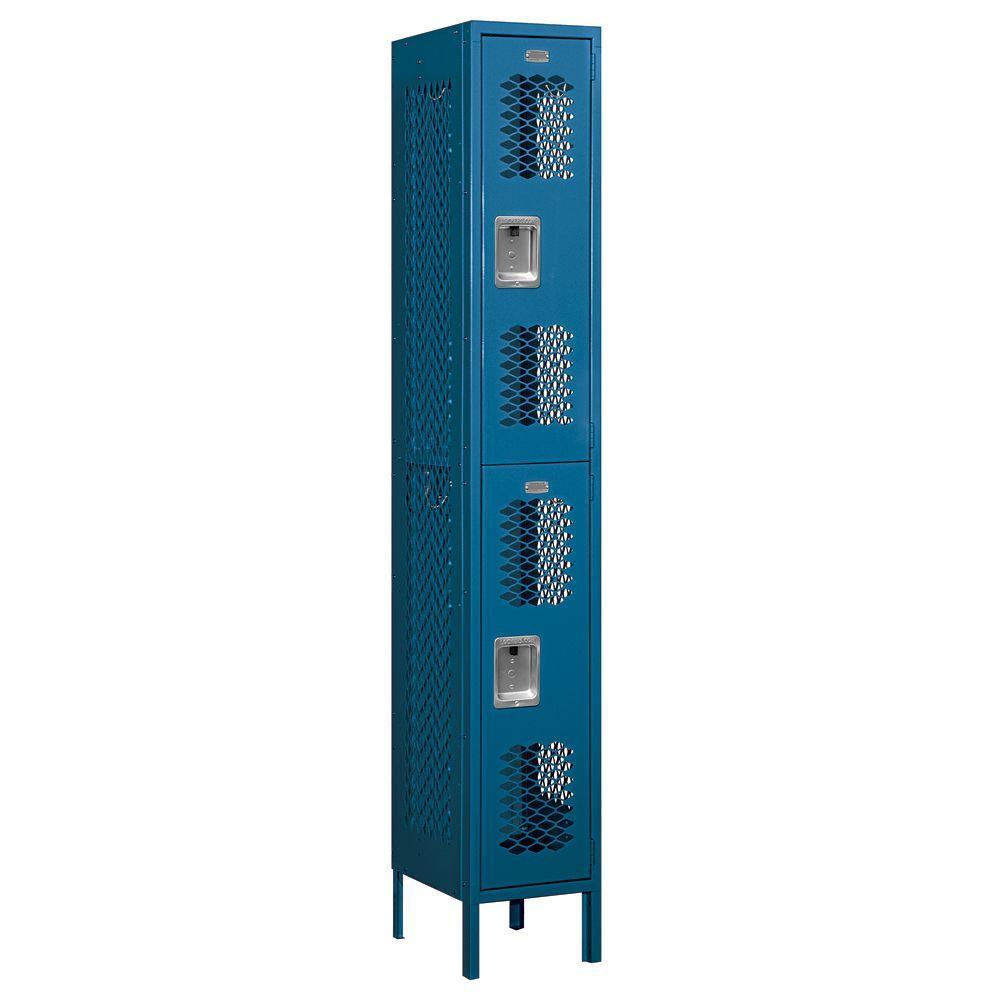 Salsbury Industries 72000 Series 12 in. W x 78 in. H x 15 in. D Double Tier Vented Metal Locker Unassembled in Blue