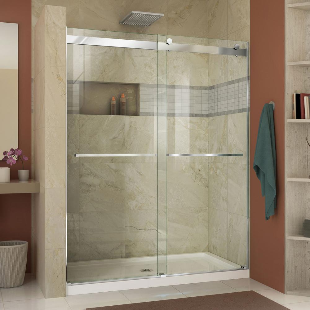 Dreamline essence 56 in to 60 in x 76 in semi frameless for Solid glass shower doors