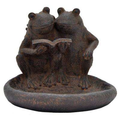 Abstract Brown Resin Frog Dish Garden Decoration