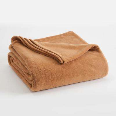 Microfleece Tobacco Brown Polyester Twin Blanket