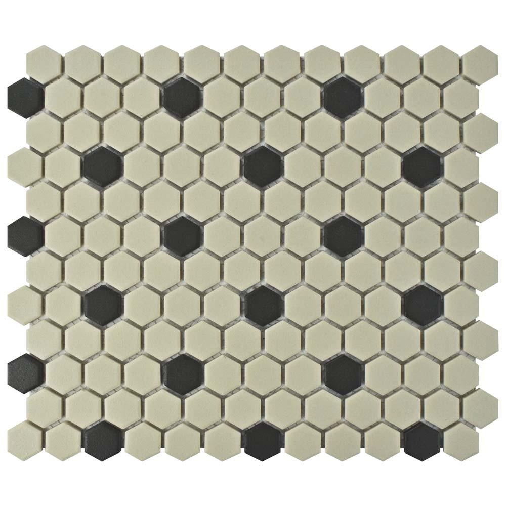 Gotham Hex Antique White with Black Dot 10-1/4 in. x 12