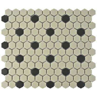 Gotham Hex Antique White with Black Dot 10-1/4 in. x 12 in. x 5 mm Unglazed Porcelain Mosaic Tile (8.54 sq. ft. / case)