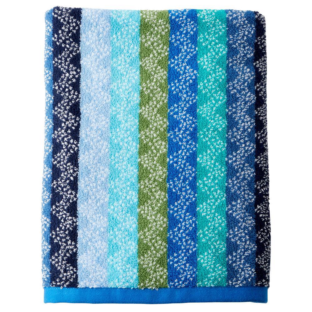 Ribbons Cotton Single Bath Towel in Blue Multi