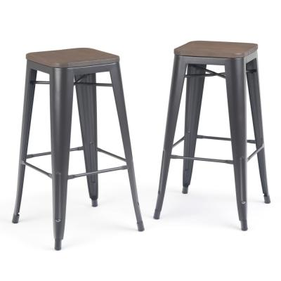 Everett 30 in. Cocoa Brown Industrial Metal Bar Stool with Wood (Set of 2)