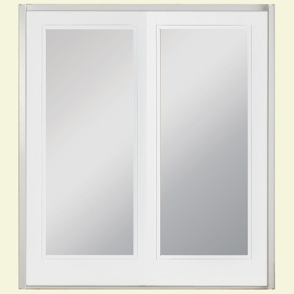 Masonite 60 in. x 80 in. Ultra White Prehung Left-Hand Inswing Full Lite Steel Patio Door with No Brickmold in Vinyl Frame
