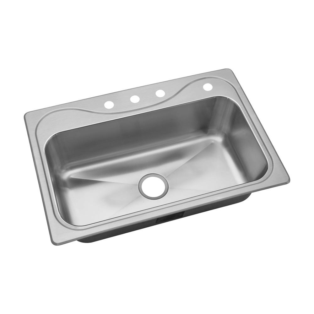 Double Bowl Kitchen Sink Drop-In Stainless Steel 33in 4-Hole 9-in Deep Basin